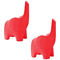 In Stock in Los Angeles, Set of 2 Tino, Red Elephant Children Chair