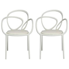 In Stock in Los Angeles, Set of 2 White Loop Padded Armchairs, Made in Italy