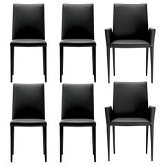 In Stock in Los Angeles, Set of 4 Black Leather Dining Chairs and 2 Armchairs