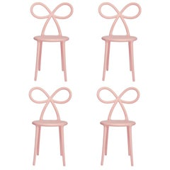 In Stock in Los Angeles, Set of 4 Pink Ribbon Chairs, Designed by Nika Zupanc