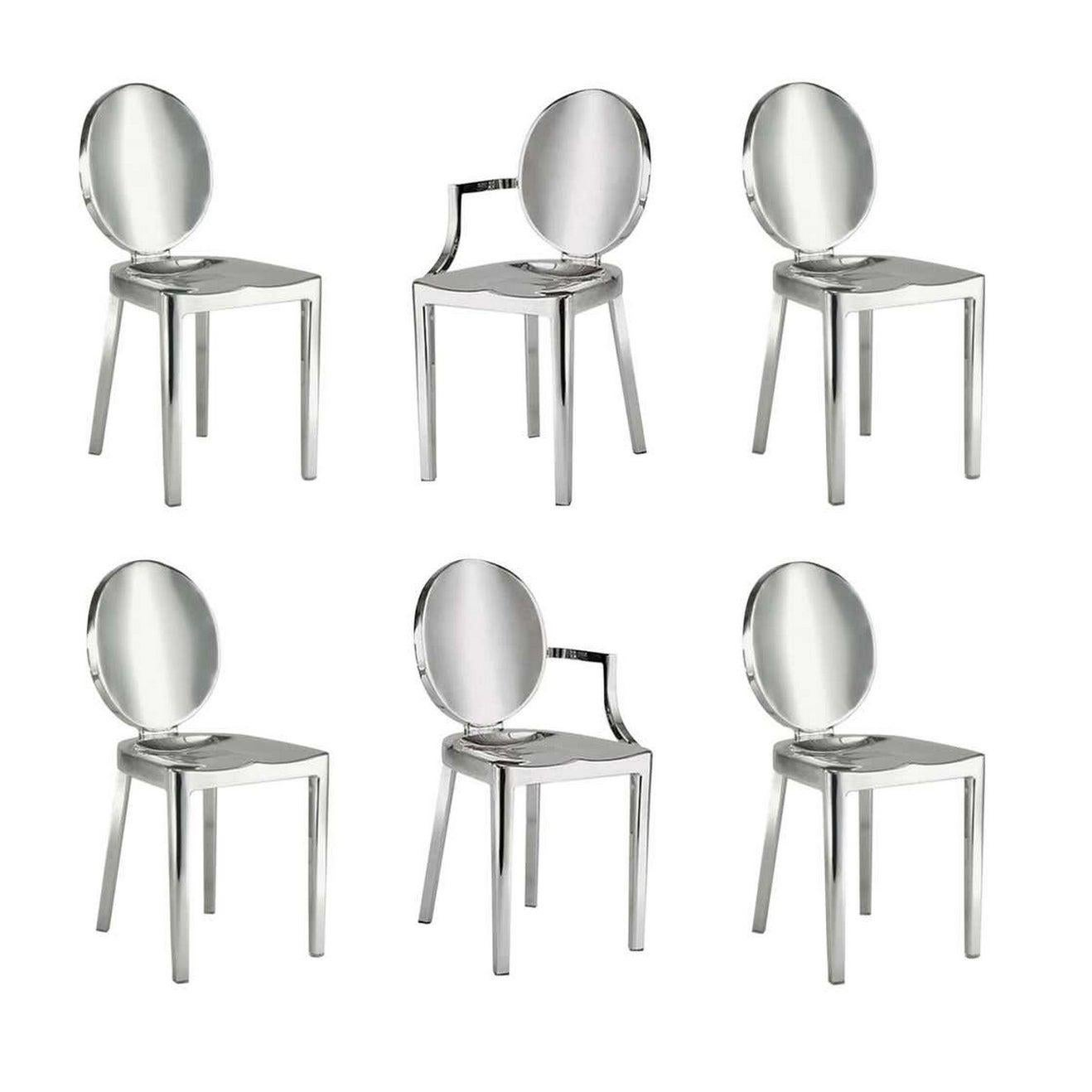 In Stock in Los Angeles, Set of 6 Kong Polished Aluminum Chairs, Philippe Starck