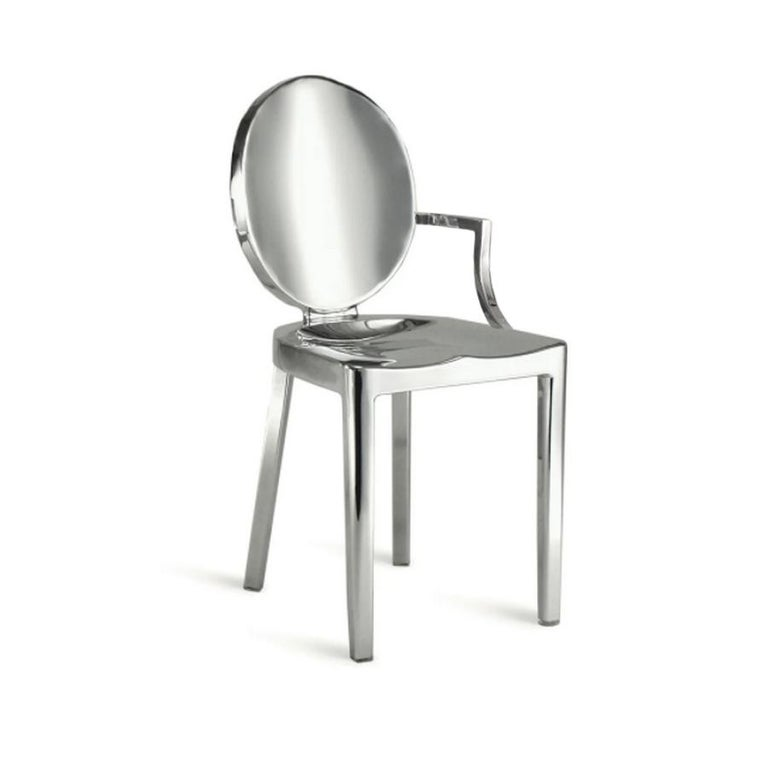 American In Stock in Los Angeles, Set of 8 Kong Polished Aluminum Chairs, Philippe Starck For Sale