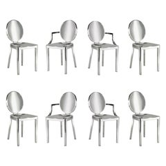 In Stock in Los Angeles, Set of 8 Kong Polished Aluminum Chairs, Philippe Starck