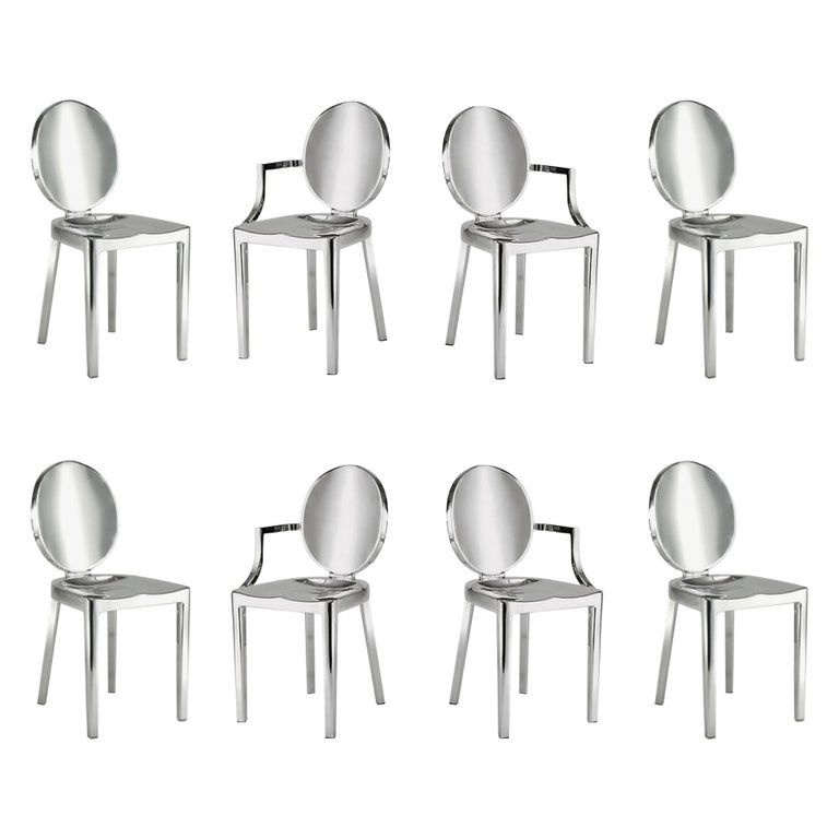 In Stock in Los Angeles, Set of 8 Kong Polished Aluminum Chairs, Philippe Starck For Sale