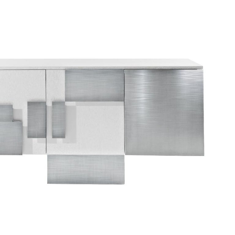 In Stock in Los Angeles, Set of White Oak and Steel Cabinet and Dining Table For Sale 1