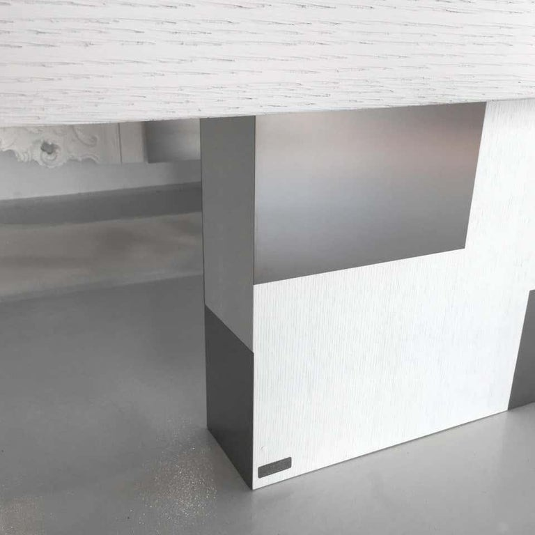 In Stock in Los Angeles, Set of White Oak and Steel Cabinet and Dining Table For Sale 2