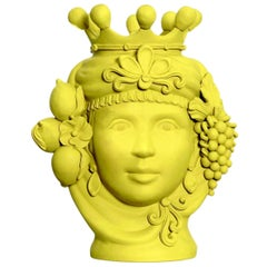 Stefania Boemi Yellow Terracotta Vase, Made in Italy