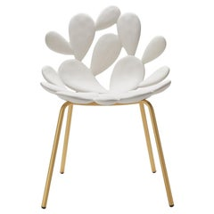 In Stock in Los Angeles, White / Brass Cactus Chair by Marcantonio Made in Italy