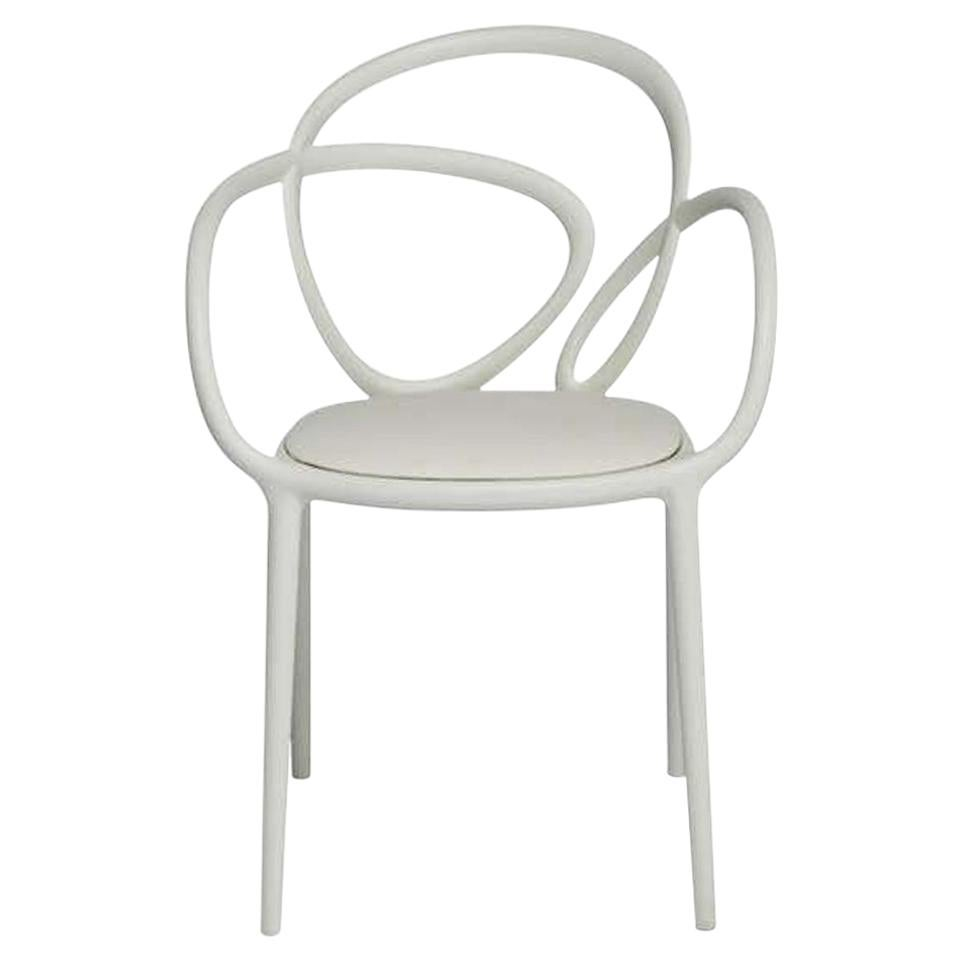 In Stock in Los Angeles, White Loop Padded Armchair, Made in Italy