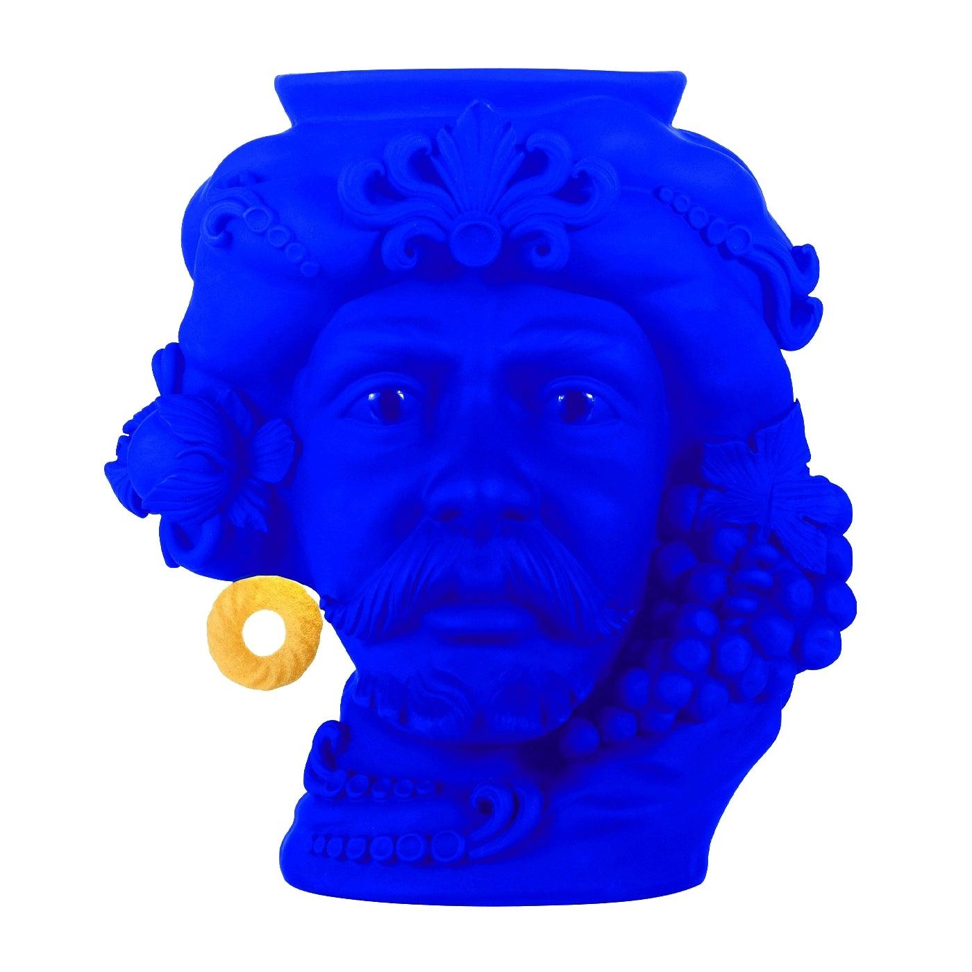 In Stock in Los Angeles, Yves Klein Blue & Gold Pirate Terracotta Vase