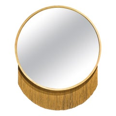 Mirror in Gold Leaf Frame and Decorative Fringe, in Stock