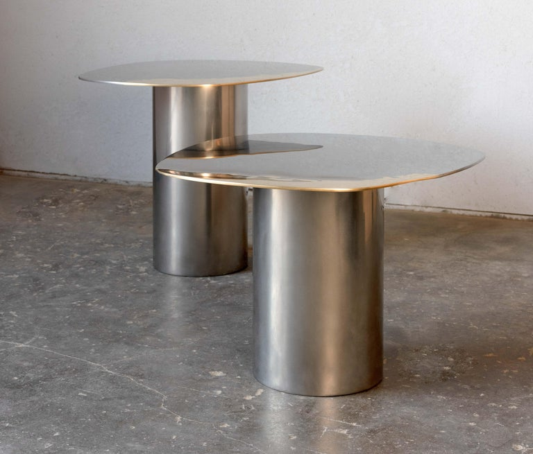 American In Stock Polished Bimetal Two-Tone Brass Stainless Steel Nesting Tables For Sale