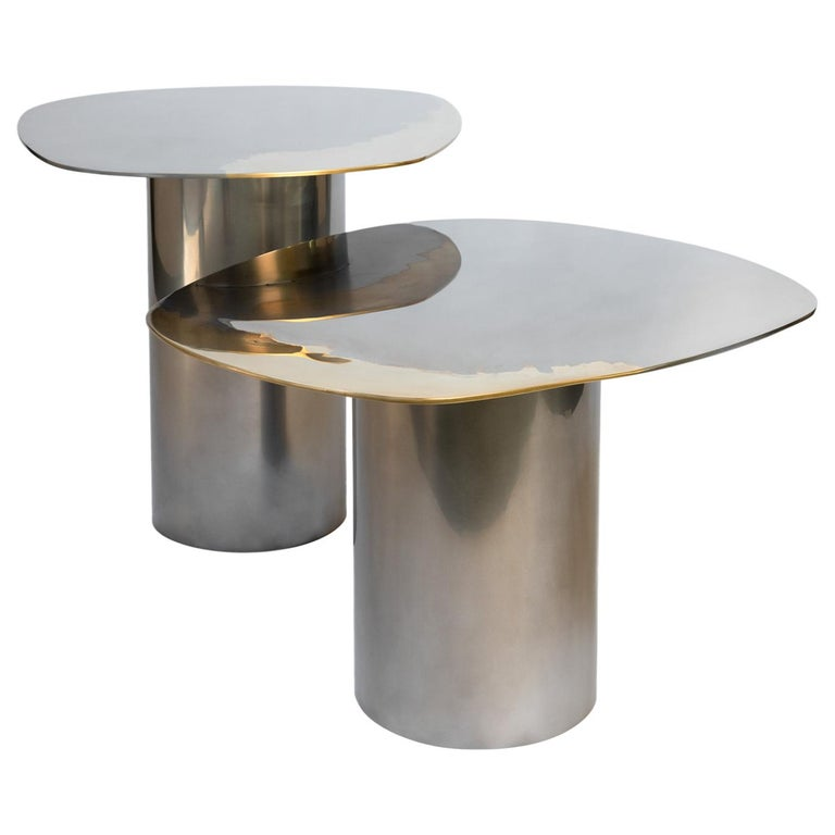 In Stock Polished Bimetal Two-Tone Brass Stainless Steel Nesting Tables For Sale