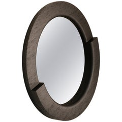 "In-Stock Tomba Round 60"" Mirror in Black Maykume and Bronze by May Furniture"