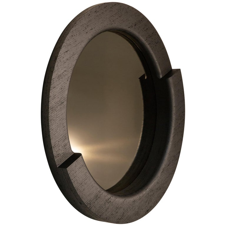 "In-Stock Tomba Round 60"" Mirror in Black Maykume and Bronze by May Furniture For Sale"