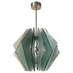 In style of Fontana Arte Murano Aqua Green Glass MidCentury Chandeliers, 1980