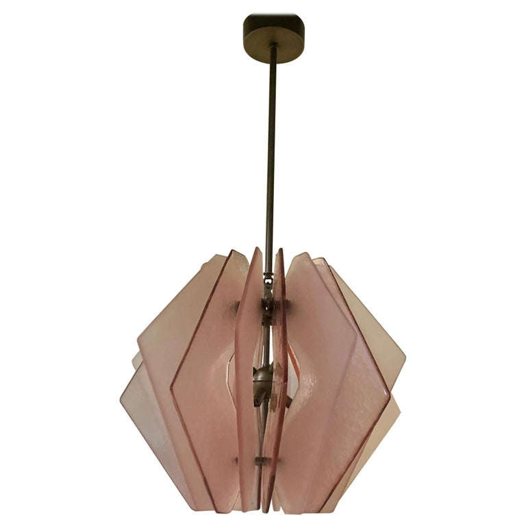 In style of Fontana Arte Murano Round Pink Glass MidCentury Chandeliers, 1980 For Sale