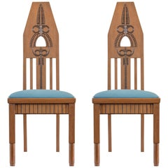 In the Manner of Eliel Saarinen, Pair of Finnish Carved Oak Jugend Side Chairs