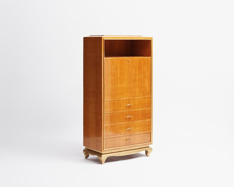 French In the Manner of Jean Pascaud, Art Deco Drop Front Secretary, France, circa 1935 For Sale