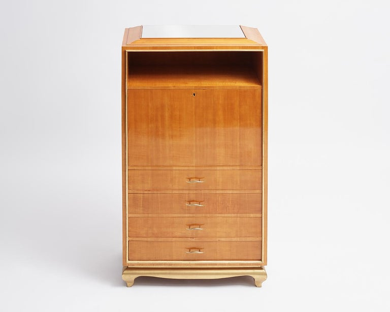 Gilt In the Manner of Jean Pascaud, Art Deco Drop Front Secretary, France, circa 1935 For Sale