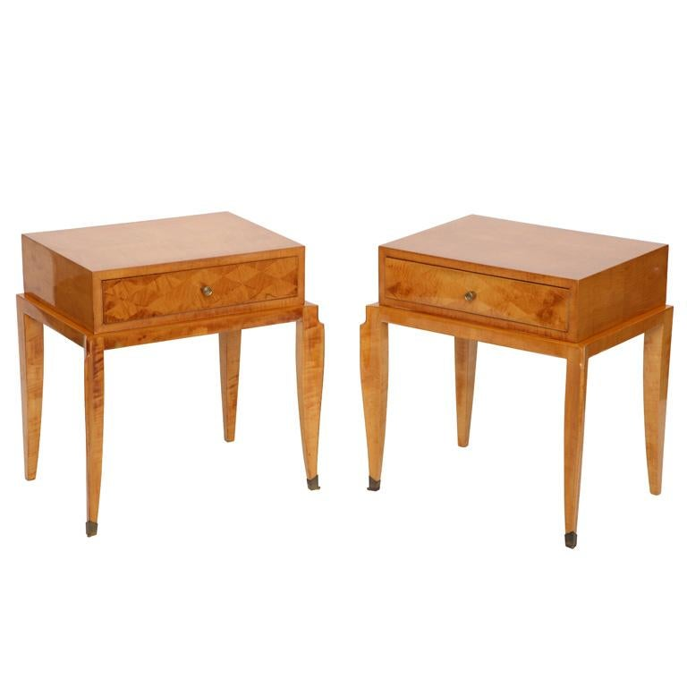 In the Manner of Jean Pascaud, Pair of Art Deco Side Tables, France, circa 1950