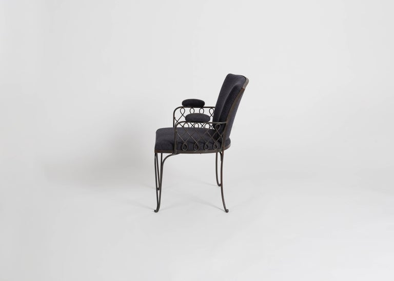 French In the Manner of Jean Pascaud, Wrought Iron Armchair, France, C. 1935 For Sale