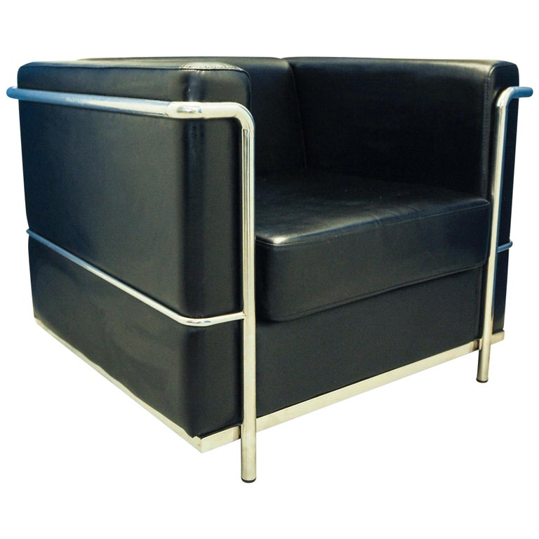 In the Manner of Le Corbusier LC2 Black Leather Armchair Within a Chrome Frame For Sale