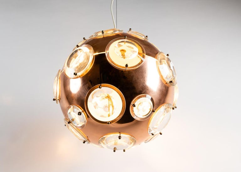 Midcentury Chandelier in the Manner of Oscar Torlasco, circa 1960 In Good Condition For Sale In New York, NY