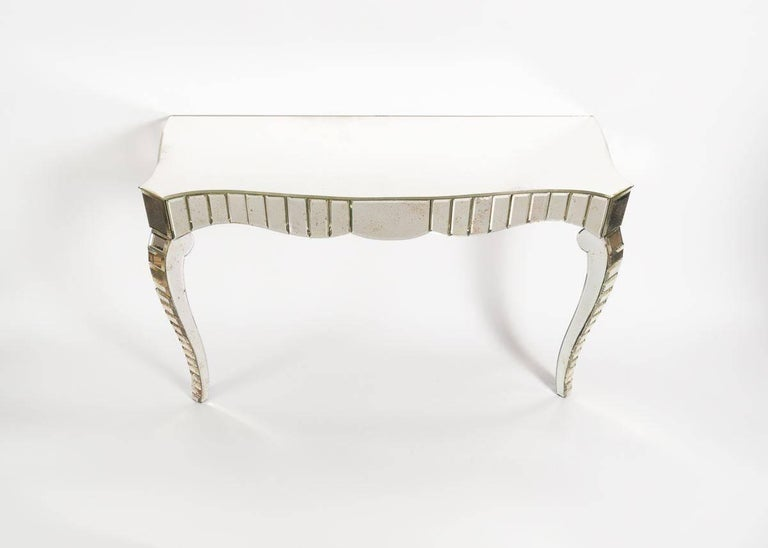 20th Century  In the Manner of Serge Roche, Mirrored Glass Console, France, C. 1950 For Sale