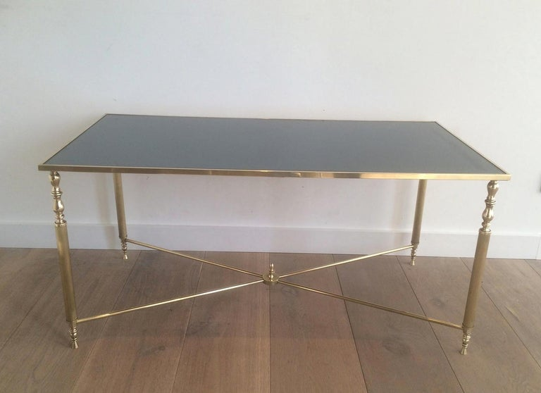 Style of Maison Jansen Brass Coffee Table with Original Blueish Mirror Top For Sale 5