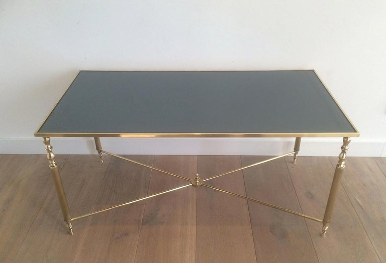 Style of Maison Jansen Brass Coffee Table with Original Blueish Mirror Top For Sale 6