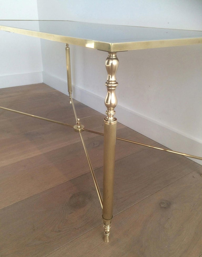 Neoclassical Style of Maison Jansen Brass Coffee Table with Original Blueish Mirror Top For Sale