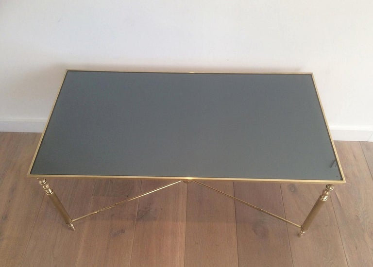 Style of Maison Jansen Brass Coffee Table with Original Blueish Mirror Top For Sale 1
