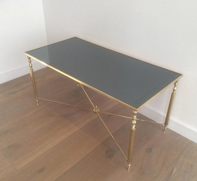 Style of Maison Jansen Brass Coffee Table with Original Blueish Mirror Top For Sale 2