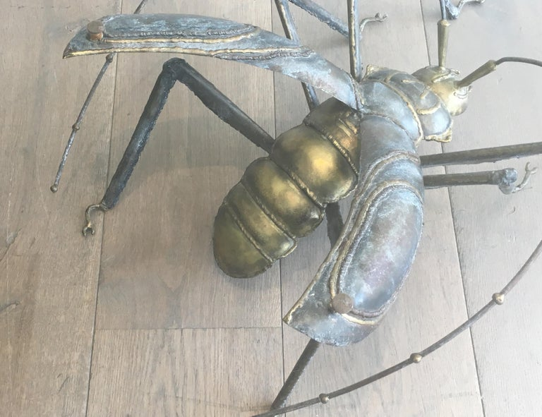In the Style Duval Brasseur, Rare Brass & Wrought Iron Grasshopper Coffee Table For Sale 4