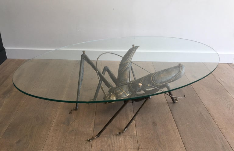 In the Style Duval Brasseur, Rare Brass & Wrought Iron Grasshopper Coffee Table For Sale 5