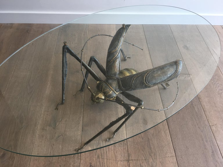 In the Style Duval Brasseur, Rare Brass & Wrought Iron Grasshopper Coffee Table For Sale 6