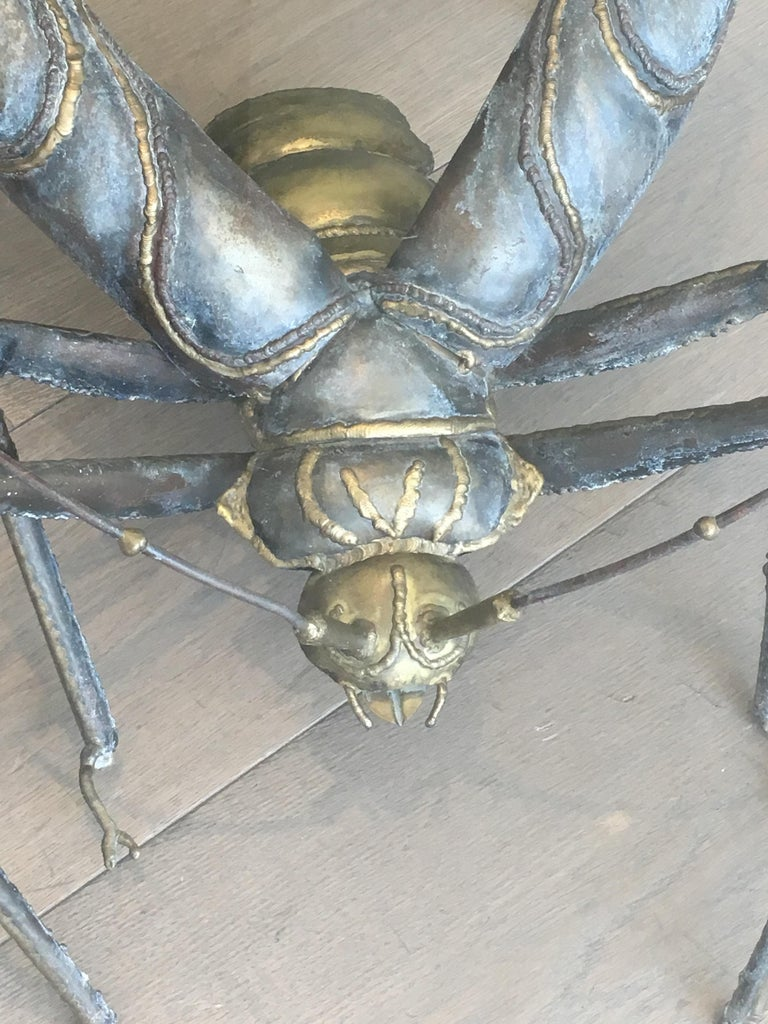 In the Style Duval Brasseur, Rare Brass & Wrought Iron Grasshopper Coffee Table For Sale 7