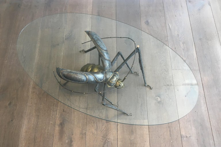In the Style Duval Brasseur, Rare Brass & Wrought Iron Grasshopper Coffee Table For Sale 14