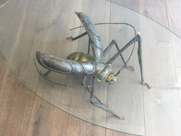 Late 20th Century In the Style Duval Brasseur, Rare Brass & Wrought Iron Grasshopper Coffee Table For Sale