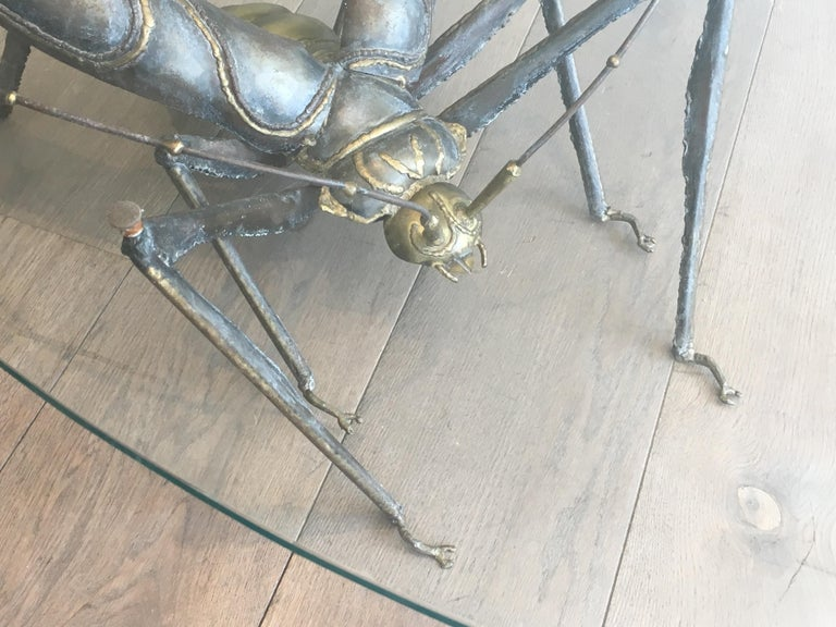 In the Style Duval Brasseur, Rare Brass & Wrought Iron Grasshopper Coffee Table For Sale 1
