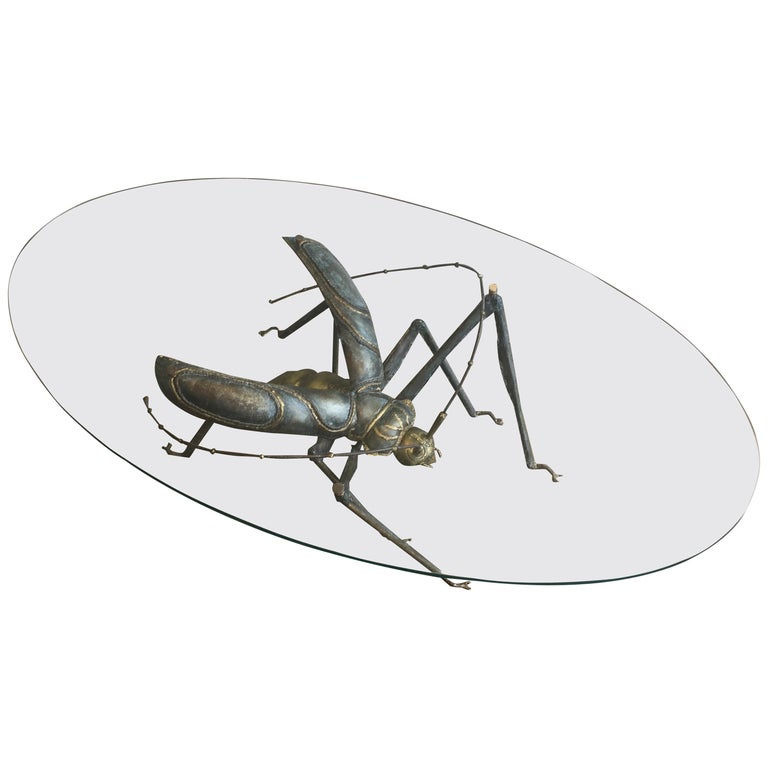 In the Style Duval Brasseur, Rare Brass & Wrought Iron Grasshopper Coffee Table For Sale