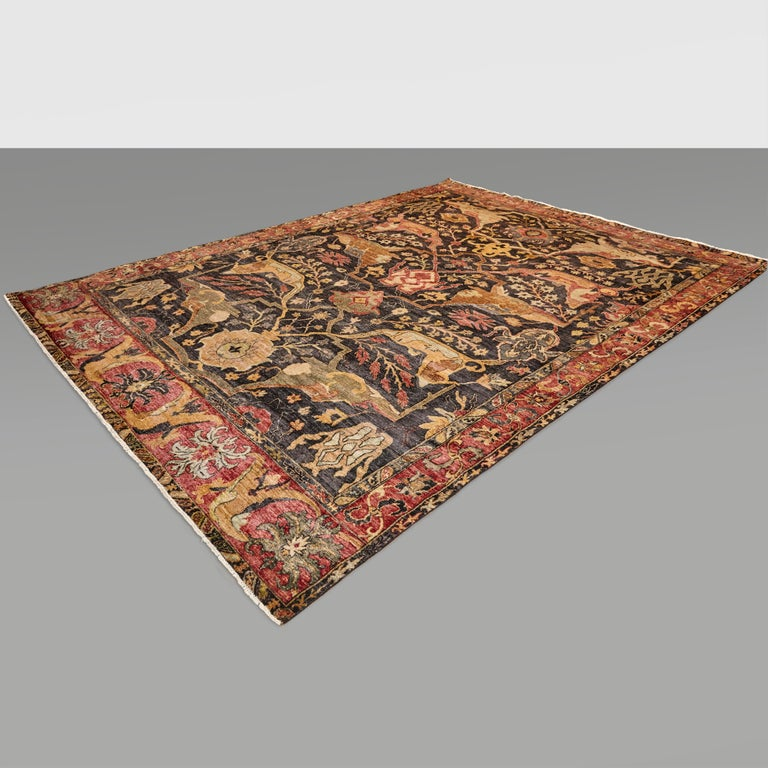 in the Style of Bidjar Old Indian Hand Knotted Wool Large Rug For Sale 12