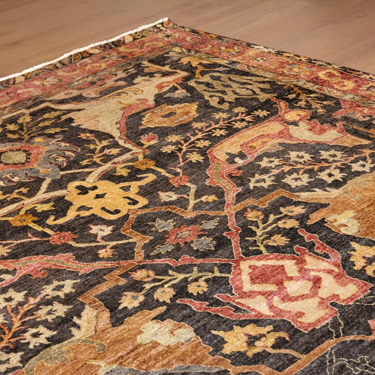 In the style of Bidjar old rug from India made in 2013  Persian hand knotted wool stonewashed Measures: 268 x 378 cm.