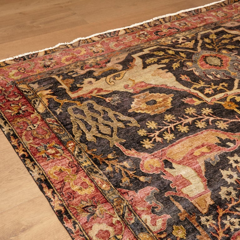 Agra in the Style of Bidjar Old Indian Hand Knotted Wool Large Rug For Sale