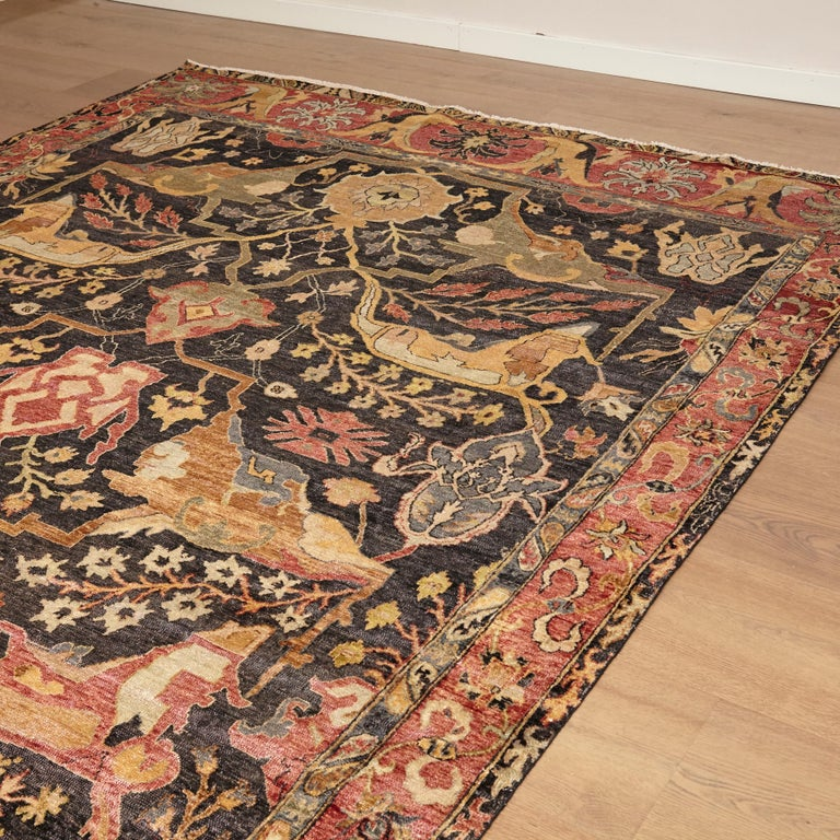 Hand-Knotted in the Style of Bidjar Old Indian Hand Knotted Wool Large Rug For Sale