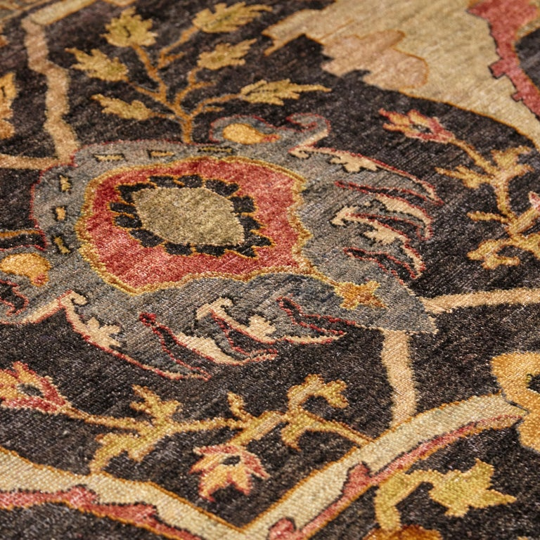 in the Style of Bidjar Old Indian Hand Knotted Wool Large Rug For Sale 2