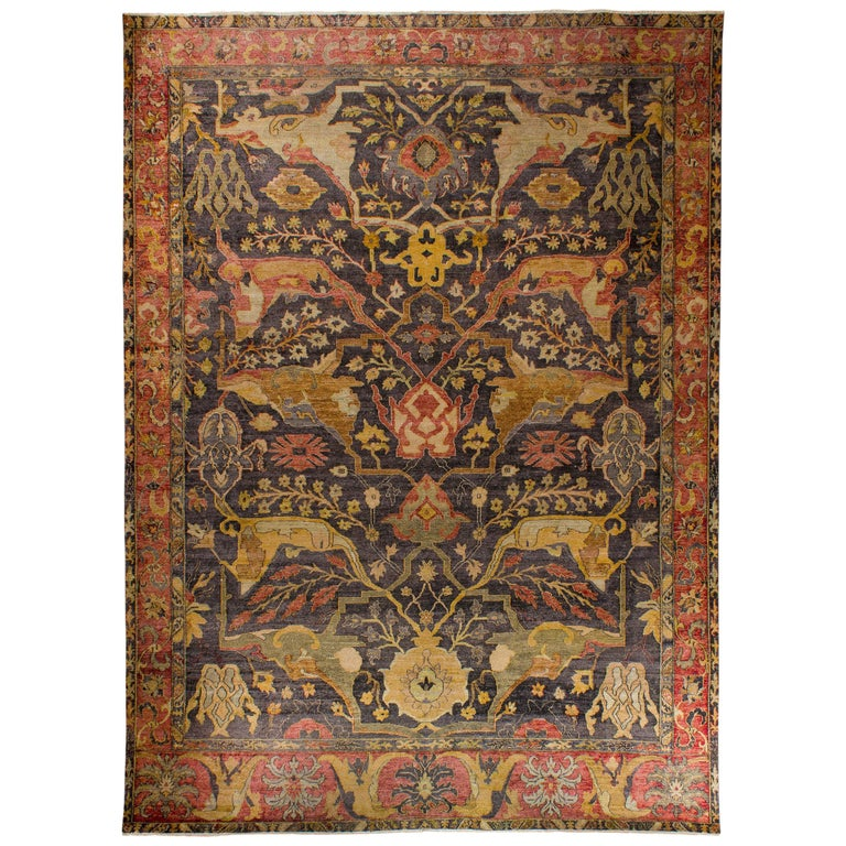 in the Style of Bidjar Old Indian Hand Knotted Wool Large Rug For Sale