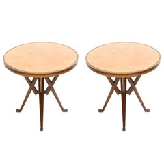 In the Style of Carlo Mollino Ashwood Pair of Italian Pedestal Tables