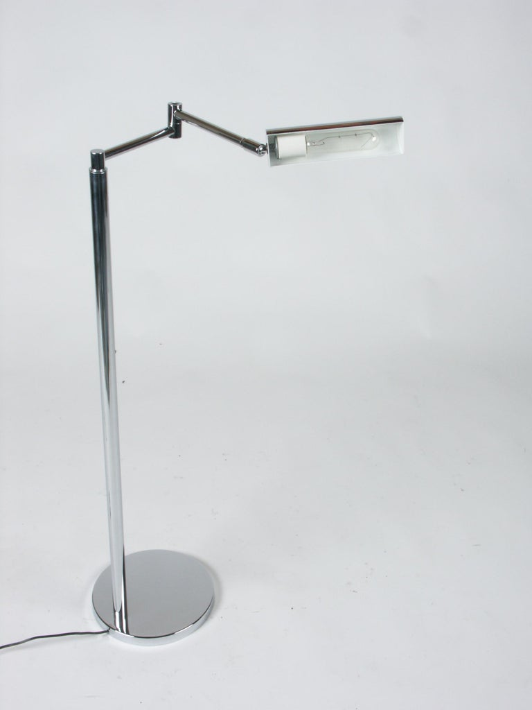 Mid-Century Modern In the Style of Cedric Hartman Adjustable Chrome Swing Arm Floor Lamp For Sale